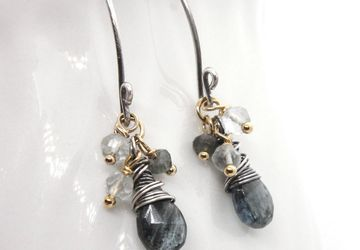 Moss Aquamarine Earrings Mixed Metal Jewelry March Birthstone Earrings