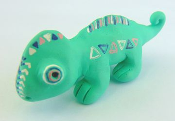 Mini Polymer Clay Chameleon Sculpture