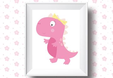 Pink dino girl, dinosaur print, children wall art