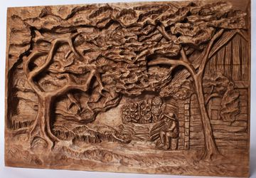 Orchard wood relief, handmade carving, basswood sculpture, mahogany/walnut