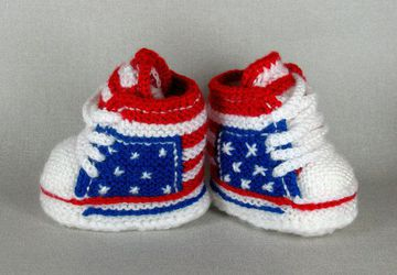 "Knitted and Crocheted baby sneakers ""USA"""