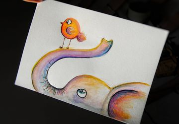 Original Baby Elephant watercolor illustration. Little bird drawing. Nursery decor. Wall art painting. Animal Art Home Decor
