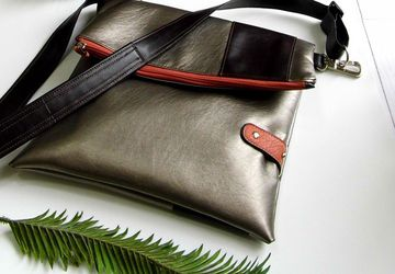 SOLD - Foldover Crossbody Bag, Vegan Leather Shoulder Bag, Faux Leather Laptop Bag, Simple Everyday Purse
