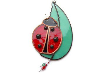 Ladybird Suncatcher, Ladybug Insect Nibbling Leaf,  Bug and Leaf Art, Window Decoration, Home Decor Ornament