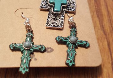 Cross Necklace and Matching Earrings