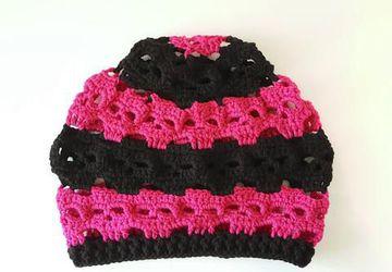 Black and Shocking Pink Skulls Slouch Hat