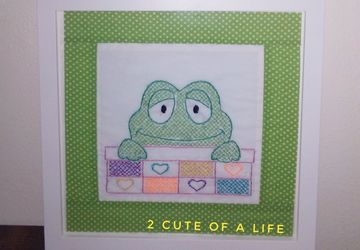 Frog needlepoint art decor