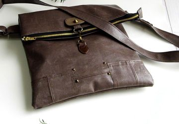 Faux Leather Crossbody Bag, Foldover Bag, Vegan Leather Shoulder Bag, Leather Laptop Bag, Bespoke Bag