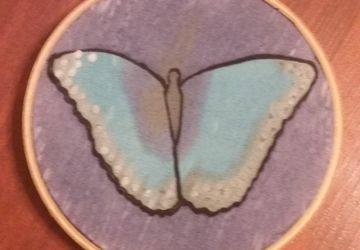 Blue Monarch Butterfly Painted on Silk measuring 4-inches