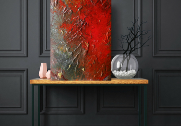 Large Red Painting, Textured Wall Art, Acrylic Pour Painting, 24 x 36 inches, Original Canvas Art, Modern Abstract Red Art Painting