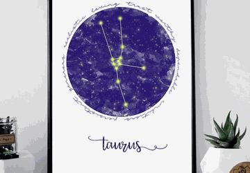 Taurus zodiac sign printable wall art
