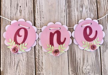 Floral First Birthday Banner