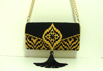 Black & Gold Bargello large Jeweled Clutch
