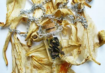 A pendant with dried flowers