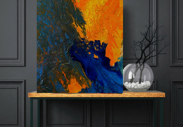 Large Acrylic Pour Painting, Orange Textured Painting, Large Original Painting on Canvas, Abstract Art On 30 x 40 inches