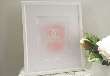 Chanel logo print, chanel wall art, chanel logo in pink, pink chanel, chanel print