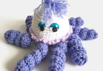 Purple and White Little Octopus Keyring Bag Charm