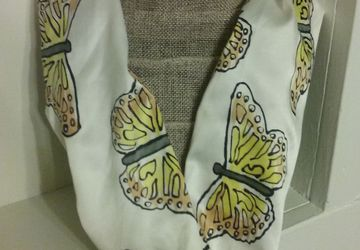 Butterfly Silk Painted Circle Scarf