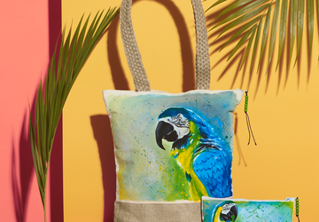 Macaw Hand Painted Tote Bag and Pouch