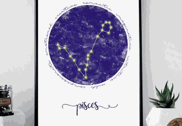 Pisces zodiac sign printable wall art