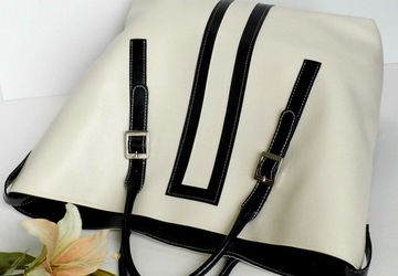 Large Cream and Black Tote Bag