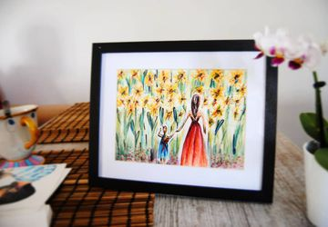 Original Sunflowers field mom and daughter watercolor illustration. Nursery Room. Baby room decor. Wall Art