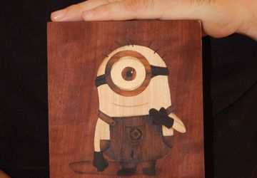 ORIGINAL wooden  minion of Gru art marquetry woodworking by Andulino