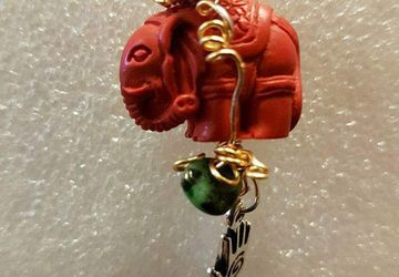 Elephant crystal gemstone pendant