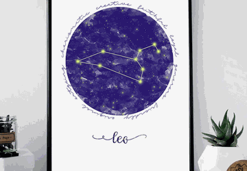 Leo zodiac sign printable wall art