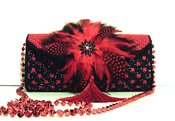 Red and Black Feathered Clutch