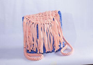 Backpack Crochet Bag Free Shipping!!! /Handmade Backpack/ Boho Style/Pink Light Blue