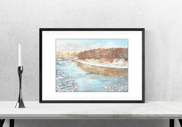 Winter landscape painting, snow river art, winter wall art