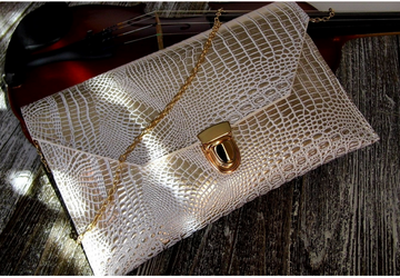 SOLD-Evening clutch cream purse with gold chain, Envelope purse, Wedding clutch, Cross body purse, Gift for her