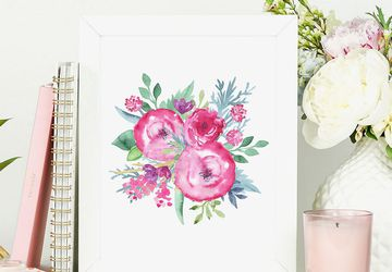 Watercolor roses wall art print.
