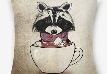 """""""Raccoon and cacao"""" pillow"""