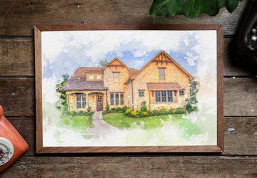 Custom Watercolor Home Portrait- Housewarming Gift