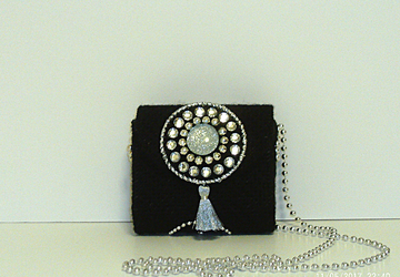 Sliver and Black Jeweled Clutch/Evening Bag