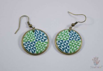 Portuguese Ceramic Tiles Round Earrings - BCDA-2-61