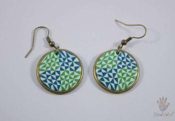 Portuguese Ceramic Tiles Round Earrings - BCDA-2-61