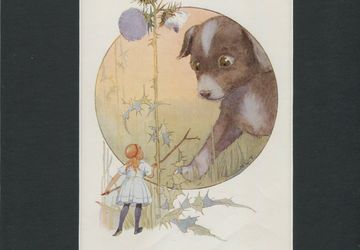 Margaret Tarrant Small Vintage Lithograph Plate-Alice in Wonderland The Puppy