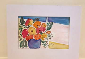 Original Watercolor Painting  - Window Flowers