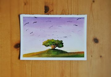 Soft color landscape. Watercolor Illustration. Tree and birds sketch. Home Decor. Nursery. Baby Room