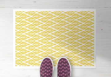 Yellow Leafs, PVC Carpet, Home Decor, Area Rug, Floor Rug, Linoleum Rug, Kitchen Rug, Colorful Rugs, New Home Gift, Home Design, Vinyl Rug