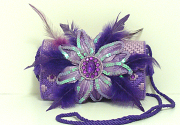Purple Feathered Jeweled Clutch/Evening bag