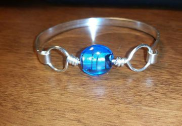 Foil Glass And Silver Bracelet
