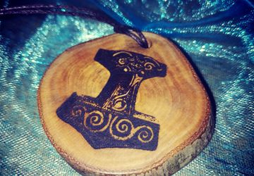 Thors Hammer Mjolnir Handmade Wooden Necklace Charms