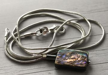 Abalone and Hematite Necklace in Sterling Silver (Mother of Pearl)