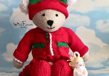 Hand knitted , one of a kind Christmas teddy bear - Holly
