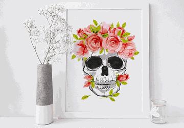 Skull wall art, floral skull