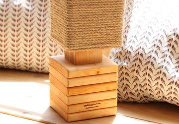 Wood Bedside Lamp, Handmade
